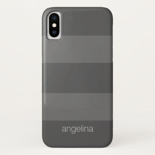 Charcoal Modern Striped Pattern Custom Name Phone Case