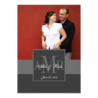 Charcoal Monogram Couple Photo Wedding Invitation