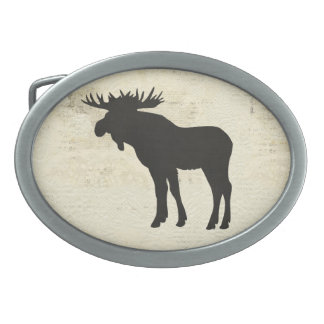 Charcoal Moose Silhouette Belt Buckle