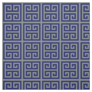 Charcoal Navy Med Greek Key T Pattern 1 Fabric