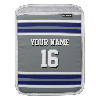 Charcoal Navy White Team Jersey Custom Number Name iPad Sleeve
