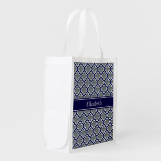 Charcoal Navy Wht Moroccan #5DS Navy Name Monogram Reusable Grocery Bag