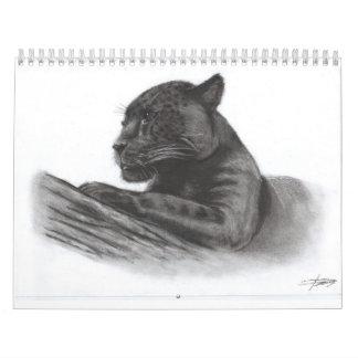 charcoal painting animals calendar