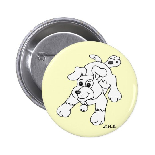 Charcoal Pencil Dog Button