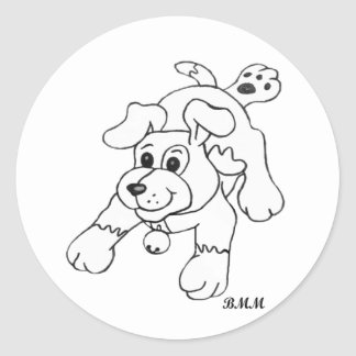 Charcoal Pencil Dog Round Stickers