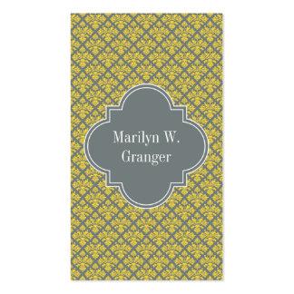 Charcoal Pineapple Damask #3 Yellow Name Monogram Business Card Template
