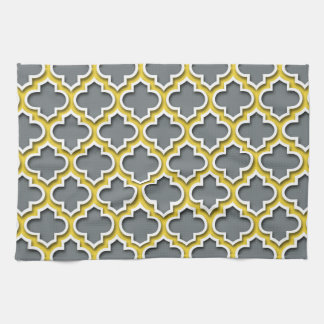 Charcoal Pineapple White Moroccan Quatrefoil #5DS Hand Towel