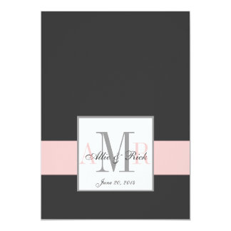 Charcoal Pink Monograms Wedding Invitation