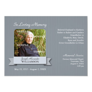 """Charcoal Pinstripe Banner Memorial Notice 4.5"""" X 6.25"""" Invitation Card"""