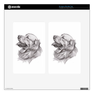 Charcoal portrait drawing of a Golden Retriever Decals For Kindle Fire