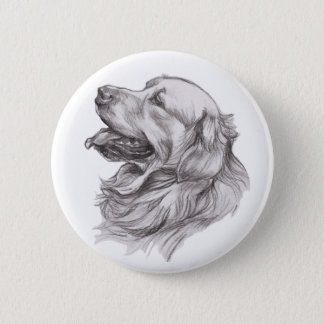 Charcoal portrait drawing of a Golden Retriever Pinback Button