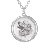 Charcoal portrait drawing of a Golden Retriever Silver Plated Necklace