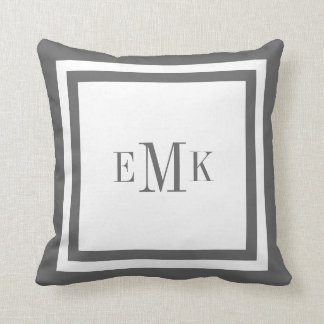 Charcoal Preppy Ribbon Custom Monogram Throw Pillows