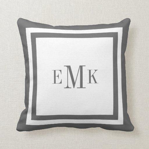Charcoal Preppy Ribbon Custom Monogram Throw Pillows