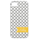 Charcoal Quatre Foil with Custom Monogram Ribbon iPhone 5 Covers