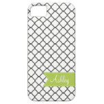 Charcoal Quatre Foil with Custom Monogram Ribbon iPhone 5 Cover
