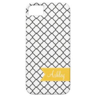 Charcoal Quatre Foil with Custom Monogram Ribbon iPhone SE/5/5s Case