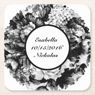 Charcoal Rose Wedding Suite-Save the Date Coaster