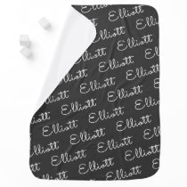 Charcoal Simple Boy Personalized Name Baby Blanket