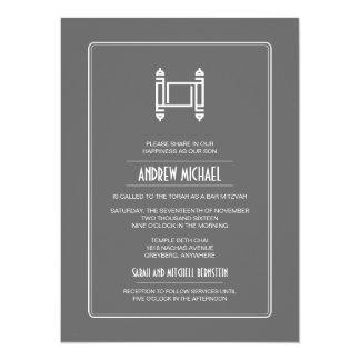 Charcoal Simple Torah Bar Mitzvah Card