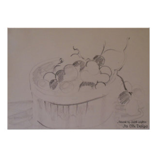 Charcoal Sketch of Grapes in Stilllife Poster