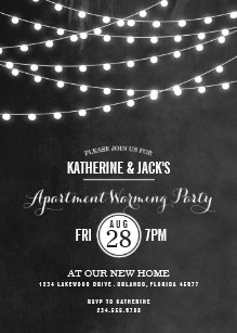Charcoal String Lights Apartment Warming Party Invitation