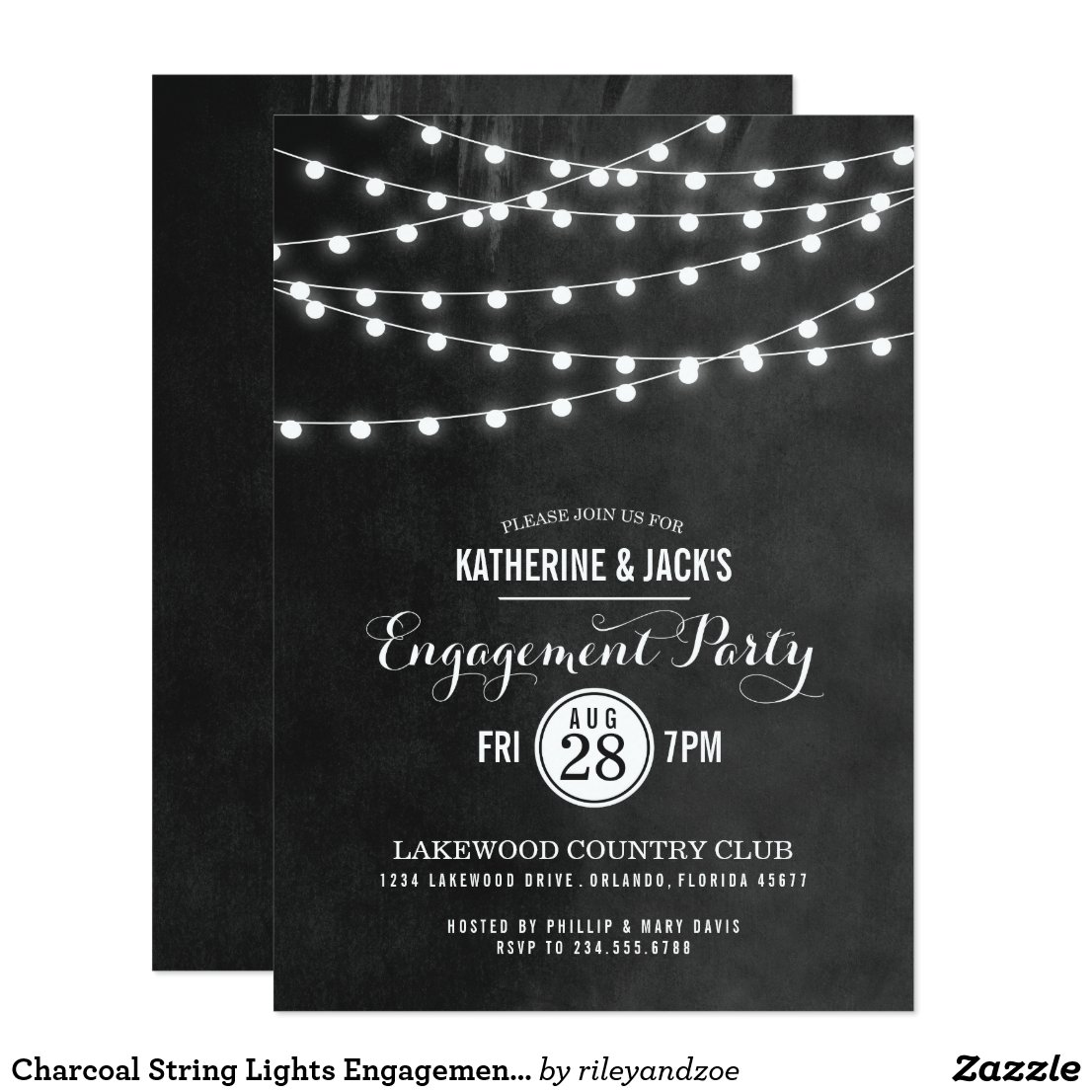 Charcoal String Lights Engagement Party Invitation