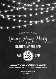 Charcoal String Lights Going Away Party Invitation