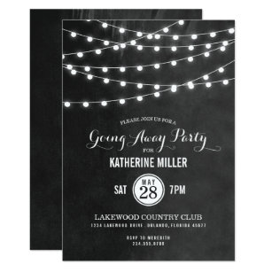 Elegant Charcoal String Lights Going Away Party Invitation