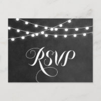Charcoal String Lights Wedding RSVP Postcard