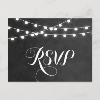 Charcoal String Lights Wedding RSVP Postcard