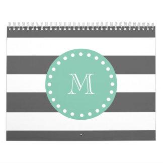 Charcoal Stripes Pattern, Mint Green Monogram Calendar