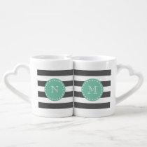 Charcoal Stripes Pattern, Mint Green Monogram Coffee Mug Set