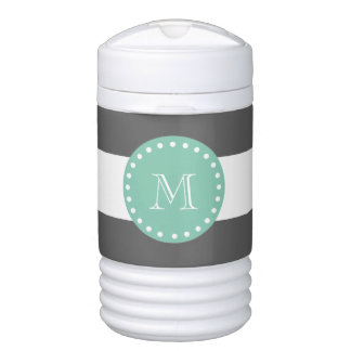 Charcoal Stripes Pattern, Mint Green Monogram Igloo Beverage Dispenser