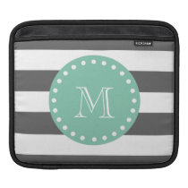 Charcoal Stripes Pattern, Mint Green Monogram iPad Sleeve
