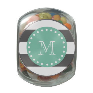 Charcoal Stripes Pattern, Mint Green Monogram Jelly Belly Candy Jar
