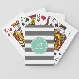 Charcoal Stripes Pattern, Mint Green Monogram Poker Deck