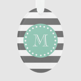 Charcoal Stripes Pattern, Mint Green Monogram Ornament