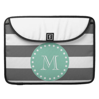 Charcoal Stripes Pattern, Mint Green Monogram Sleeve For MacBooks