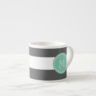 Charcoal Stripes Pattern, Mint Green Monogram Espresso Mug