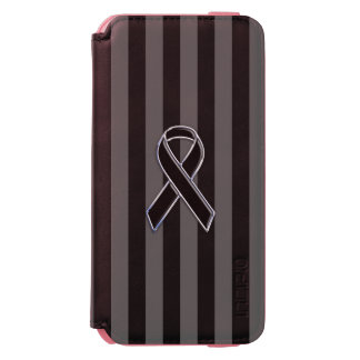 Charcoal Stripes Style Black Ribbon Awareness iPhone 6/6s Wallet Case
