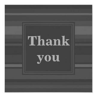 Charcoal stripes thank you card