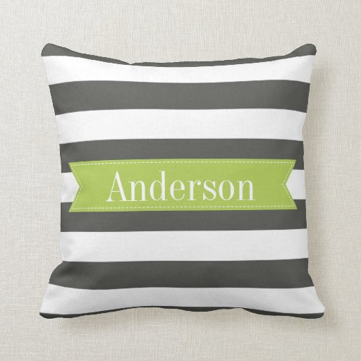 Charcoal Stripes with Lime Custom Monogram Pillow