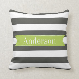 Charcoal Stripes with Lime Custom Monogram Throw Pillow