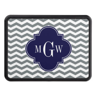 Charcoal Thin Chevron Navy Quatrefoil 3 Monogram Tow Hitch Cover