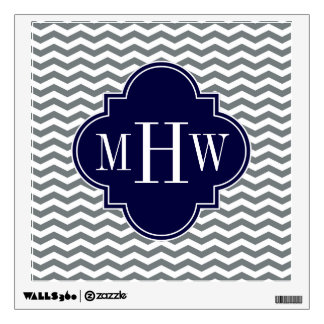 Charcoal Thin Chevron Navy Quatrefoil 3 Monogram Wall Decal
