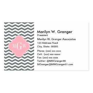 Charcoal Thin Chevron Pink Quatrefoil 3 Monogram Business Card