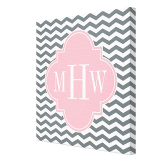 Charcoal Thin Chevron Pink Quatrefoil 3 Monogram Canvas Print