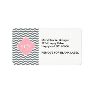 Charcoal Thin Chevron Pink Quatrefoil 3 Monogram Label