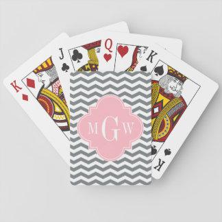 Charcoal Thin Chevron Pink Quatrefoil 3 Monogram Card Deck